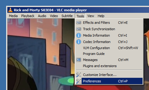 Changing font in VLC step 1: open VLC settings